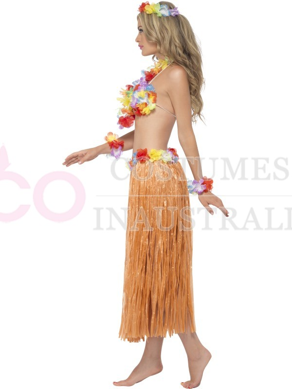 7d3413ed4 Womens Hula Honey Instant Kit Hawaiian 5pc Grass Skirt Luau Costume Fancy  Dress | eBay