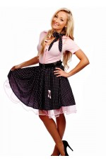 Ladies 50s 1950s Grease Bopper Poodle Pin Up Costume Hop Diva Rock Polka Fancy Dress