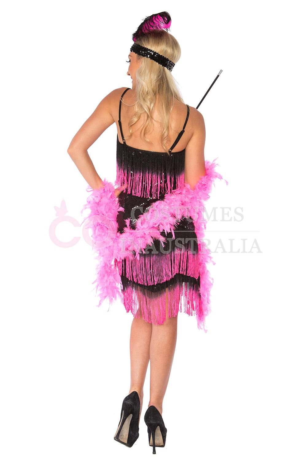 Deluxe Ladies 20s 1920s Charleston Flapper Black Pink Costume Fancy Dress AU Womens Chicago ...
