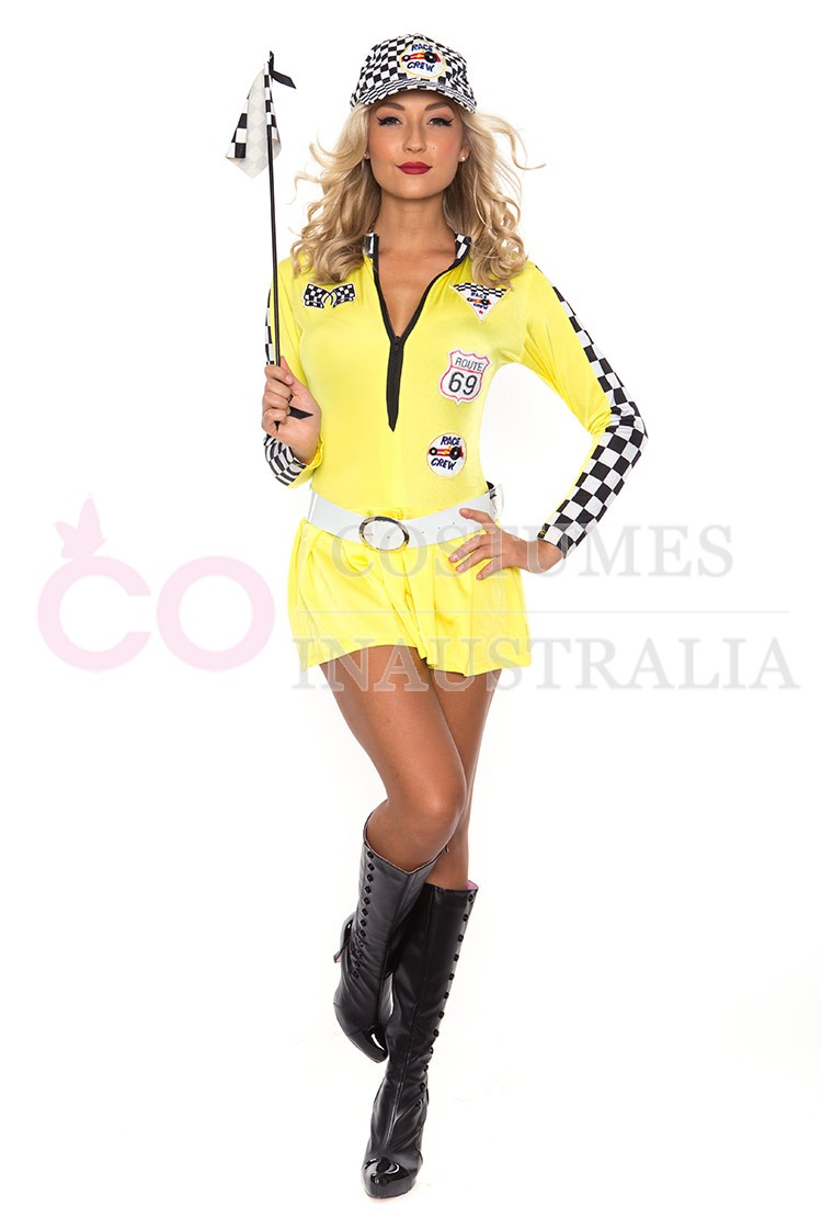 Yellow Sexy Miss Indy Super Car Racer Racing Sport Driver ...