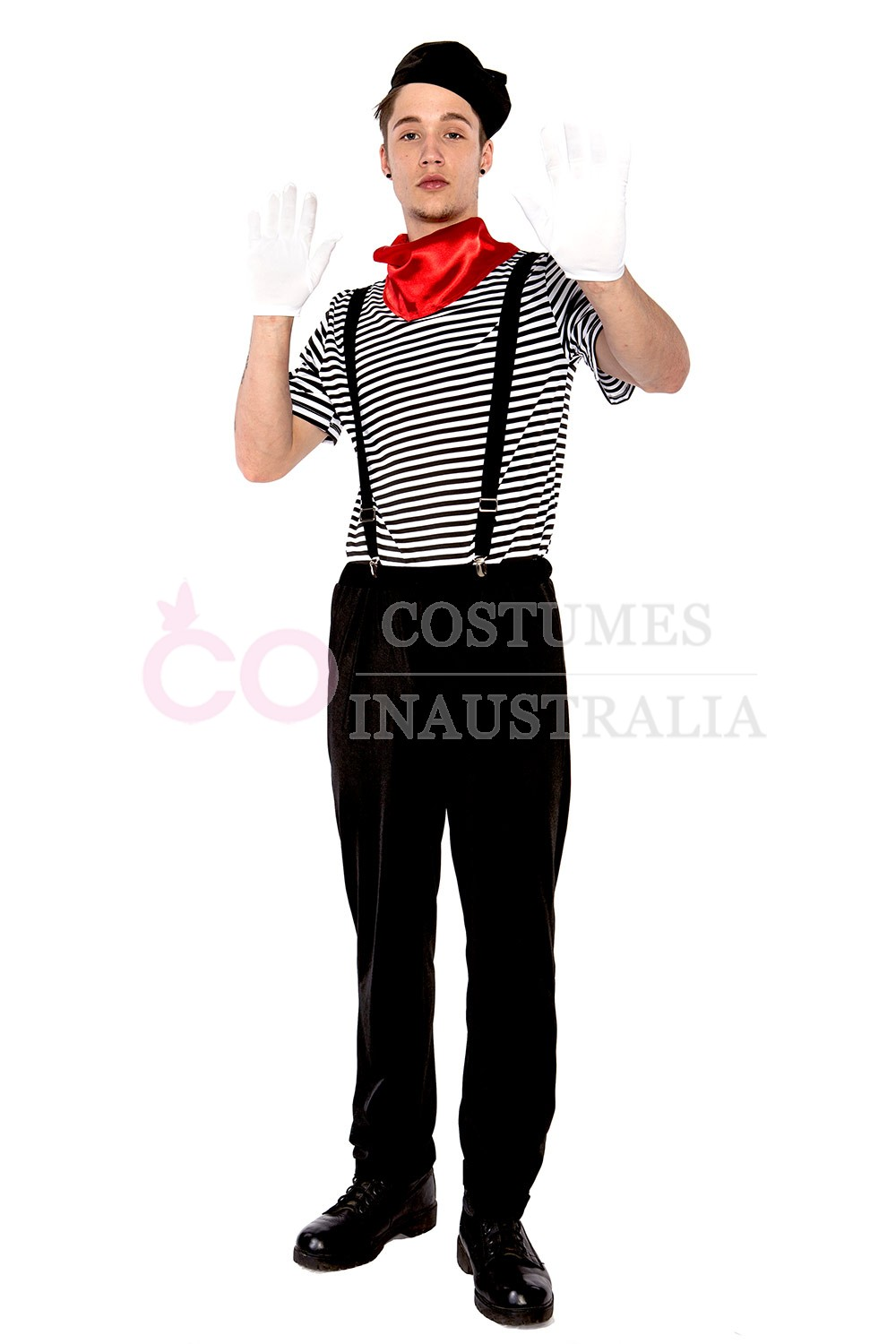 Mens Mesmerizing Mime Costume French Artist Clown Circus ...
