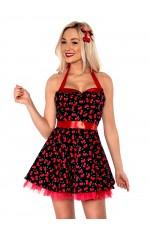 Ladies 50s 1950s Cherry Pinup Costume Hop Diva Rock Polka Fancy Dress
