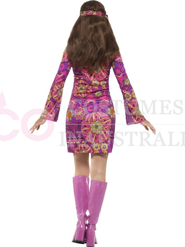 Adult Womens Woodstock Hippie Chick Costume 60s Groovy