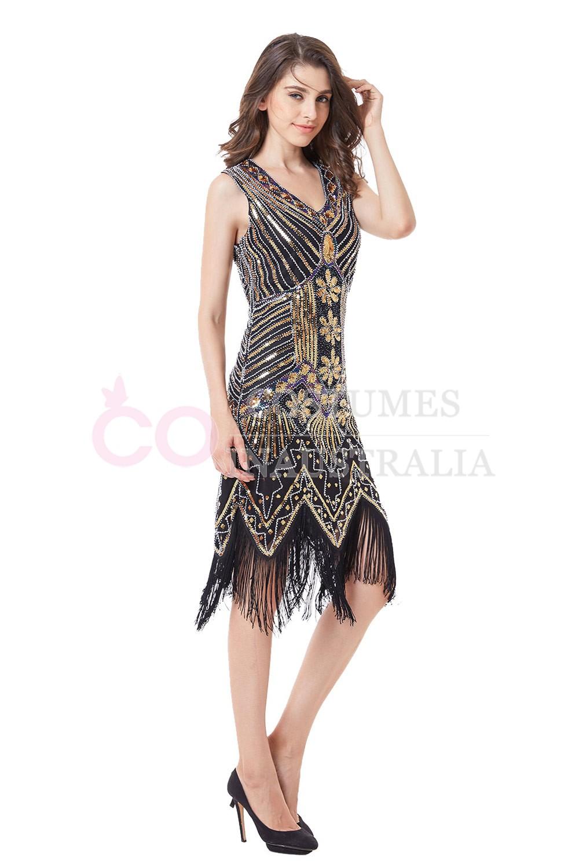 1920s flapper vintage fancy dress costume package includes dress ...