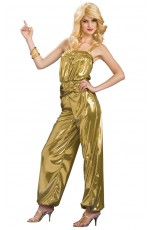 60s, 70s Costumes Australia - SEXY 60s SOLID GOLD DIVA JUMPSUIT ADULT WOMENS FANCY DRESS HALLOWEEN COSTUME