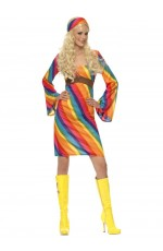 Ladies RAINBOW 60s 70s Retro Hippie Go Go Girl Disco Licensed Costume Fancy Dress Hen Xmas Party