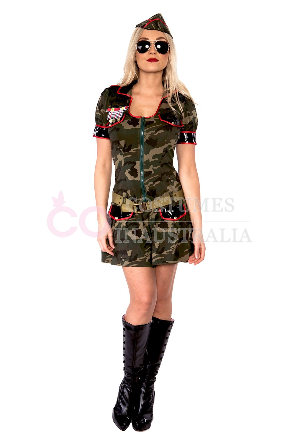 Army Top Gun Costumes lb7003_1  sc 1 st  Costumes Australia & Ladies Army Girl Military Uniform Top Gun Flight Soldier Costume FBI ...
