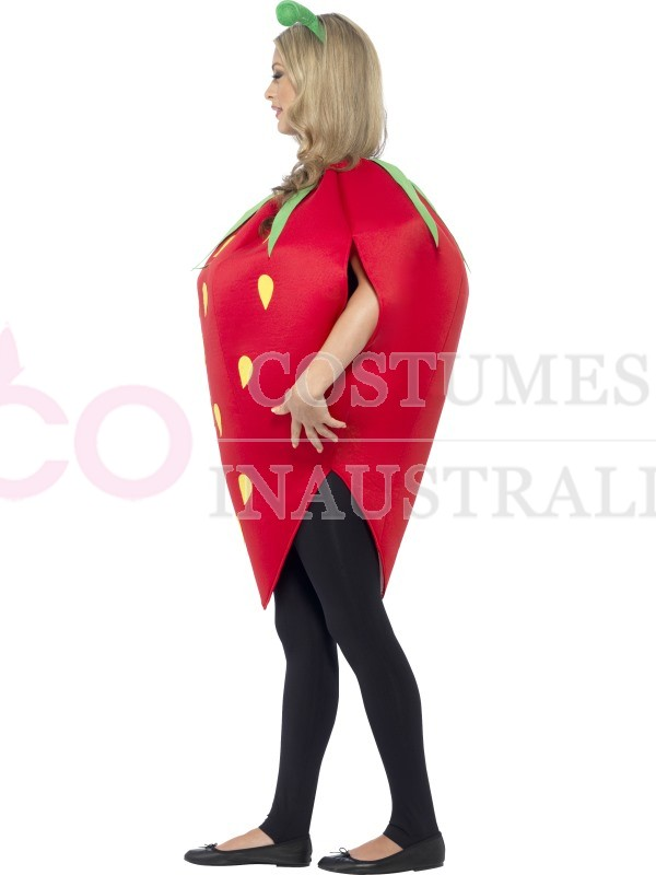 Strawberry Costume Ladies Mens Unisex Novelty Fruit Funny Party Fancy Dress