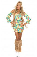 Ladies 60s 70s Retro Hippie Go Go Girl Disco Dancer Groovy Costume Hens Party Fancy Dress