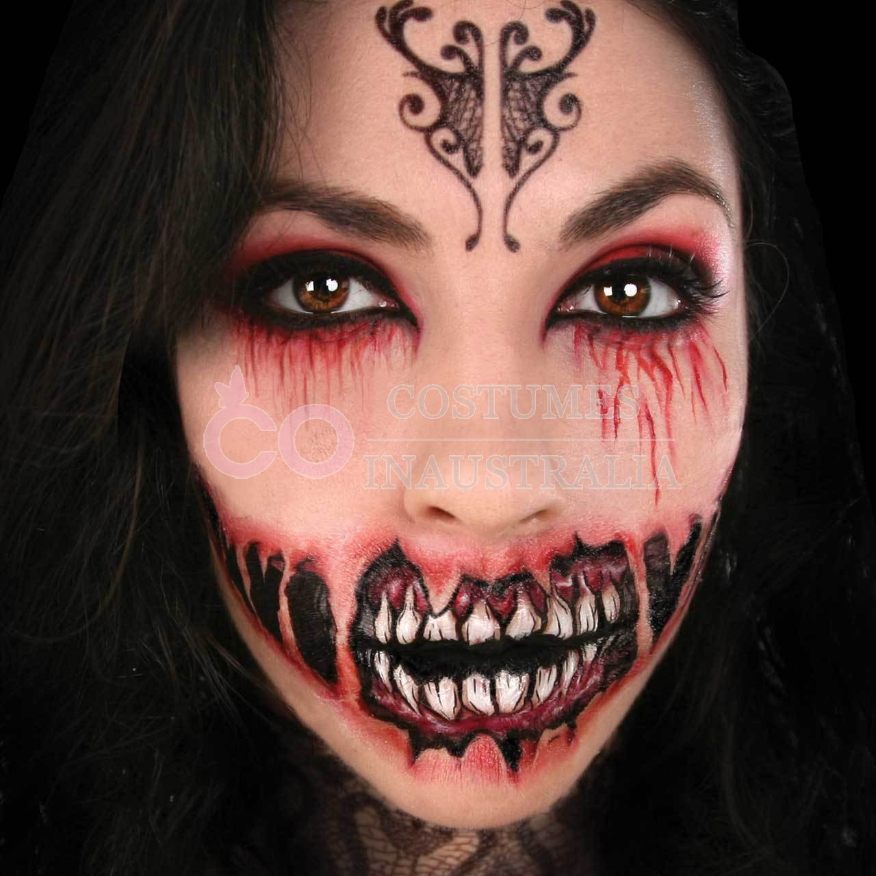 Ladies halloween big mouth scary face temporary tattoo for Halloween temporary tattoos