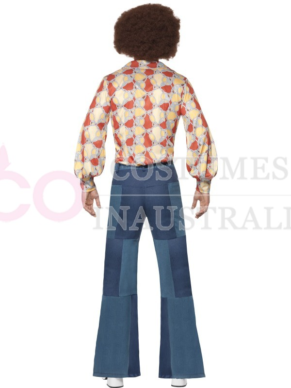 Mens 70s Flares Patchwork Costume Denim 1970s Trousers Fancy Dress Dancer Outfit