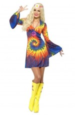 Ladies Tie Dye 60s 70s Retro Hippie Go Go Girl Disco Licensed Costume Fancy Dress Hen Xmas Party