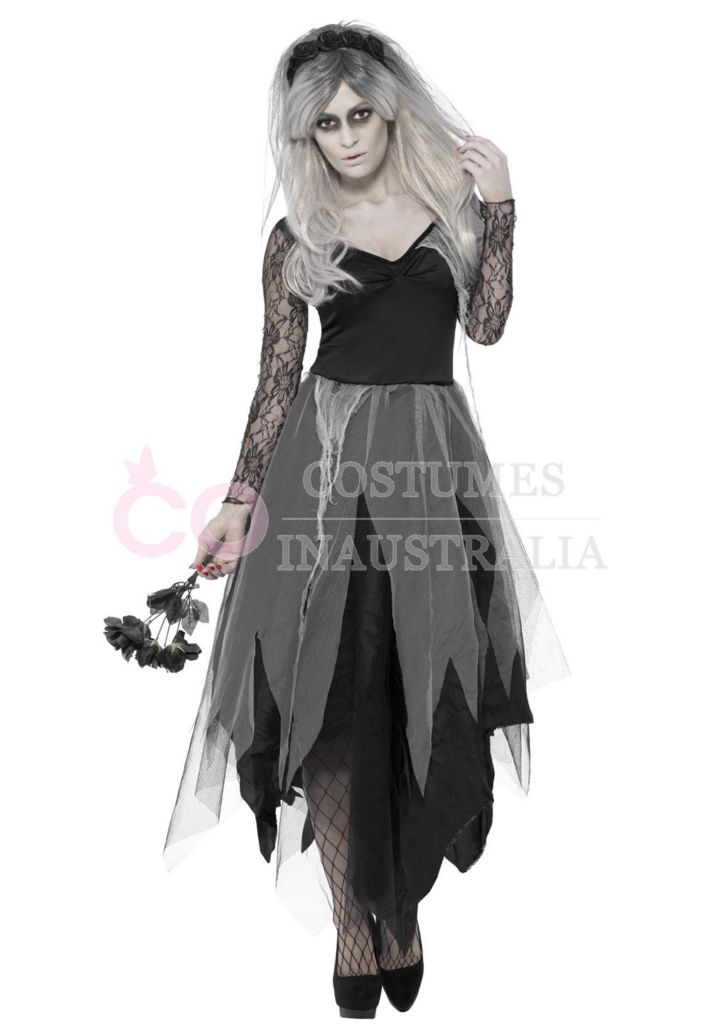 zombie graveyard corpse bride womens horror halloween fancy dress costume. Black Bedroom Furniture Sets. Home Design Ideas