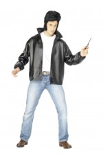 Mens T-Bird Grease Jacket Embroidered Logo Official Licenced 50s Leather Look Costume Fancy Dress