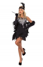 Ladies 20s 1920s Charleston Flapper Chicago Fancy Dress Costume With Necklace
