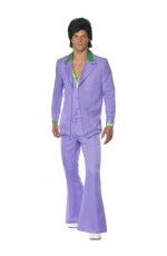 1970s 70s Suit Lavender Groovy Dancer Mens Fancy Dress  Party Retro Costume Disco Saturday Night Fever Suit