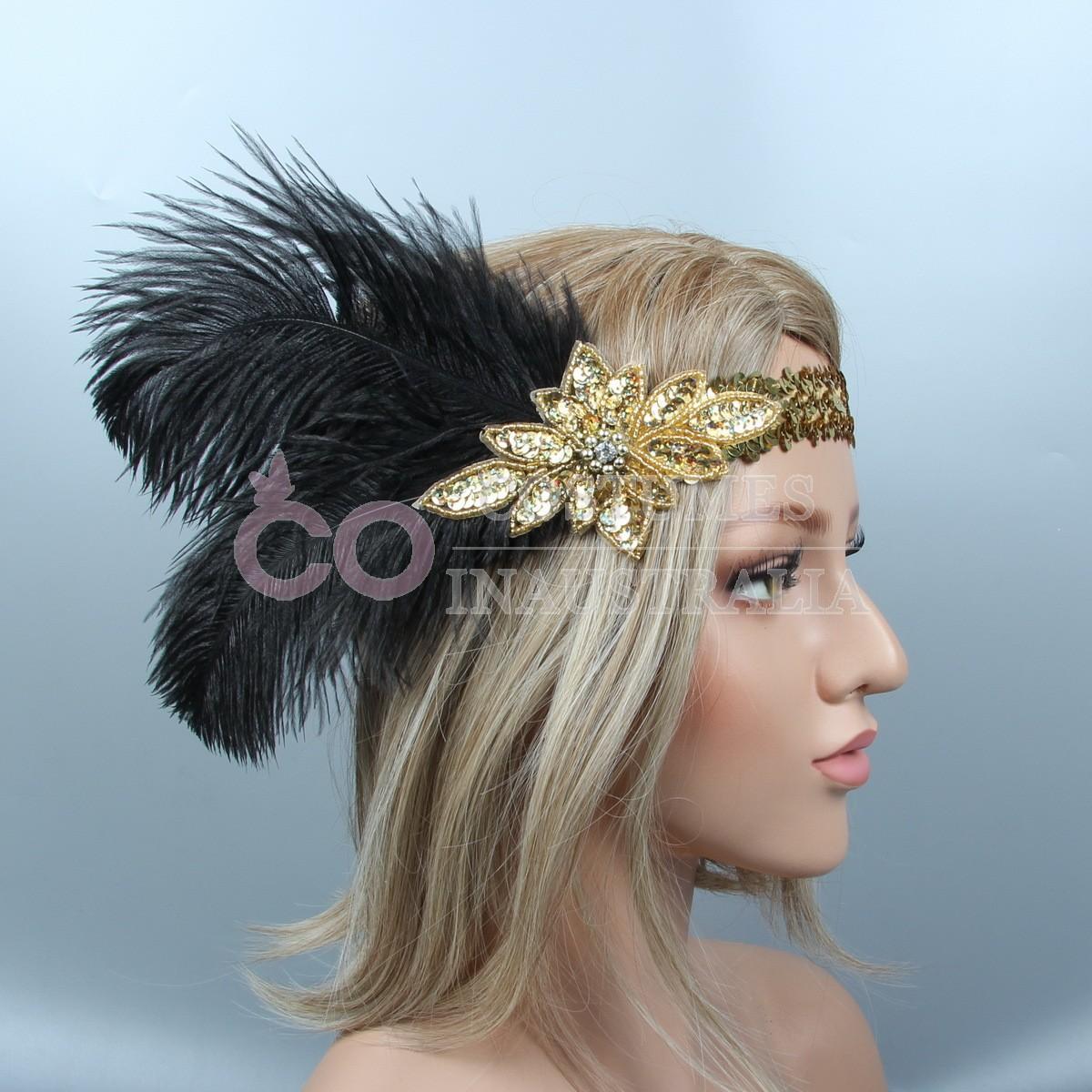 Headpieces For Weddings Australia: 1920s Headband Black Feather Gold Bridal Great Gatsby 20s