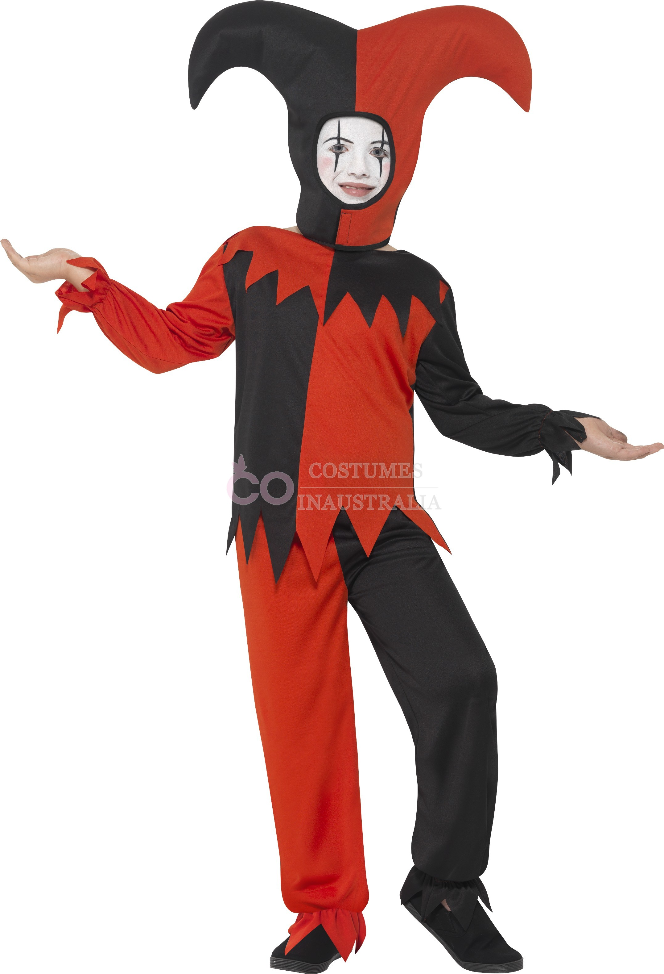 sc 1 st  Costumes Australia & Twisted Jester Costume Halloween Boys Child Kids Harlequin Mask Party