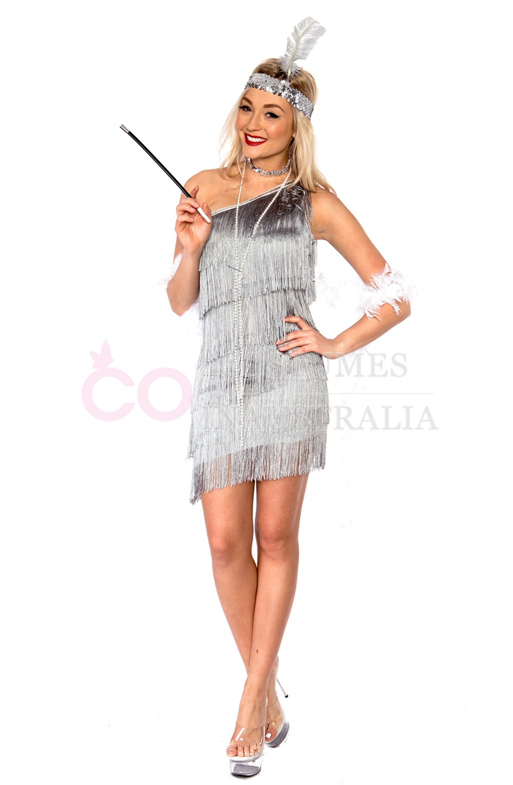 ... Dress Australia / Ladies 1920s Flapper Grey Fancy Dress Costume