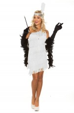 White 20s 1920s Charleston Flapper Fancy Dress Costume Cigarette Holder Necklace Boa