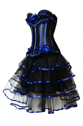 black with blue lace up corsetskirt