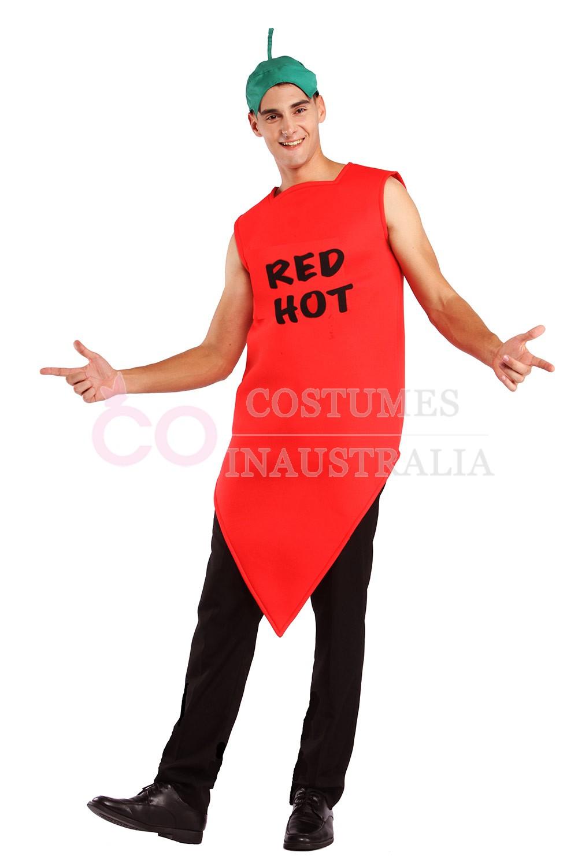 Adult Unisex Chilli Pepper Costume Mens Red Hot Vindaloo Mexican Fancy Dress