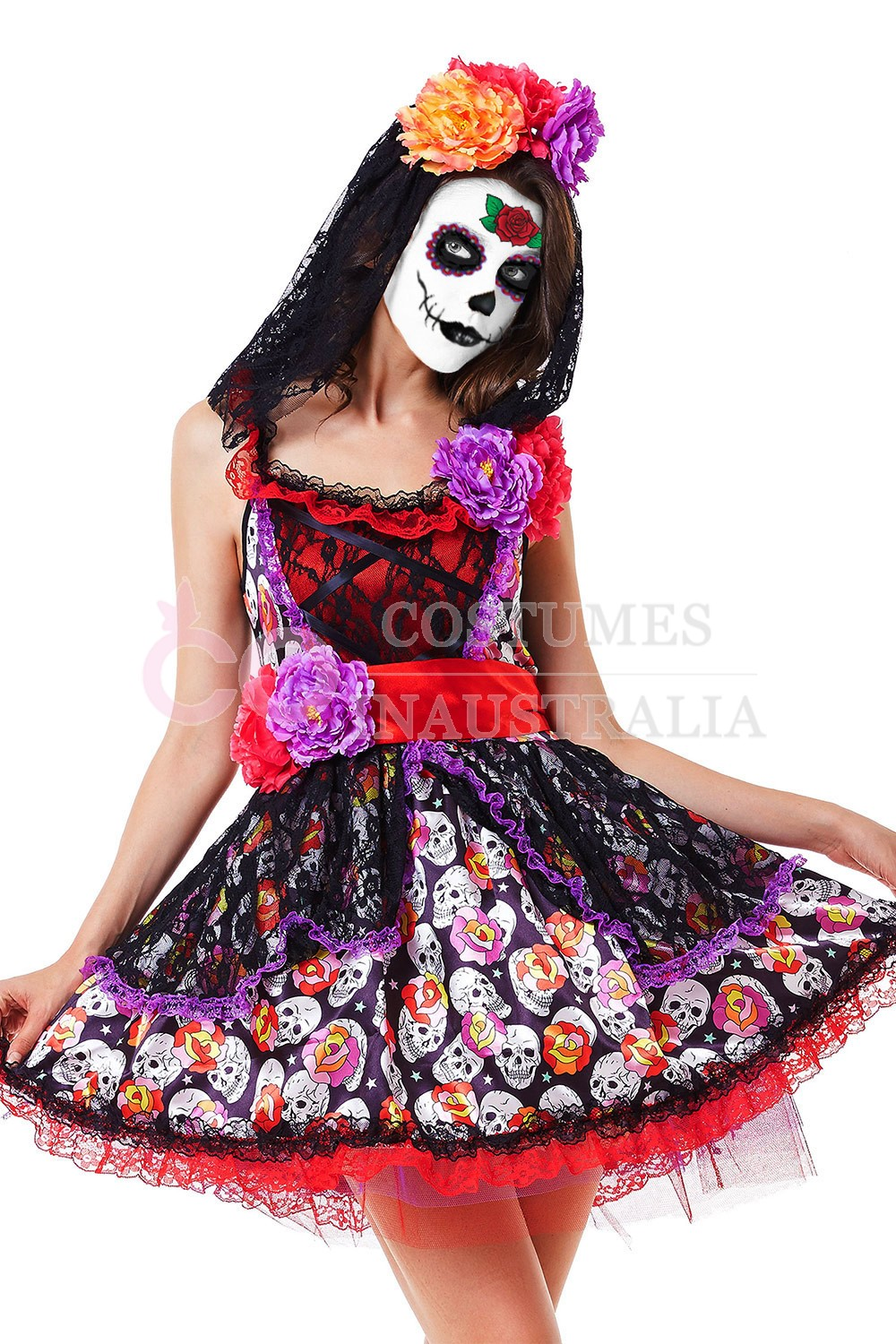Ladies Day of the Dead Sugar Skull Halloween Zombie Scary ...
