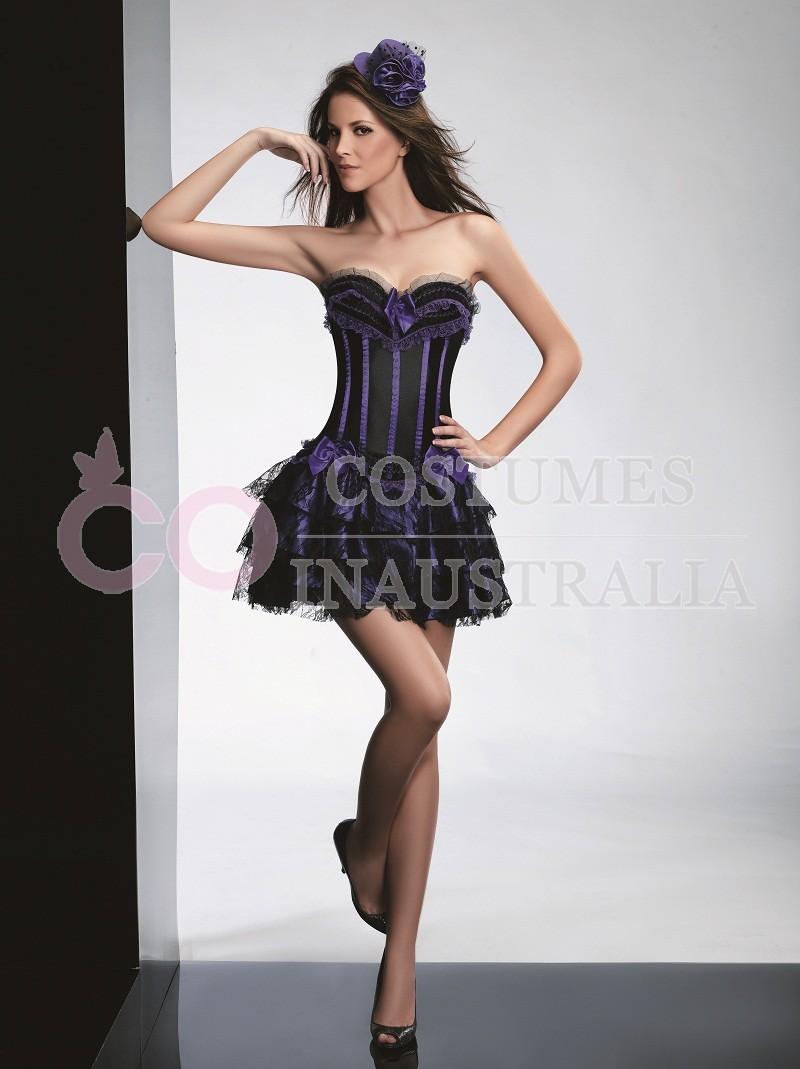 purple burlesque dance fancy dress corset outfits