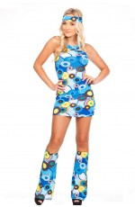 Ladies 1960s 70s Retro Hippie Go Go Girl Fancy Dress Costume