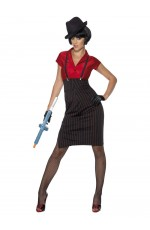 Womens Adult 1920s 20s Gangster Red & Black Smiffys Flapper Era Ladies Fancy Dress Costume