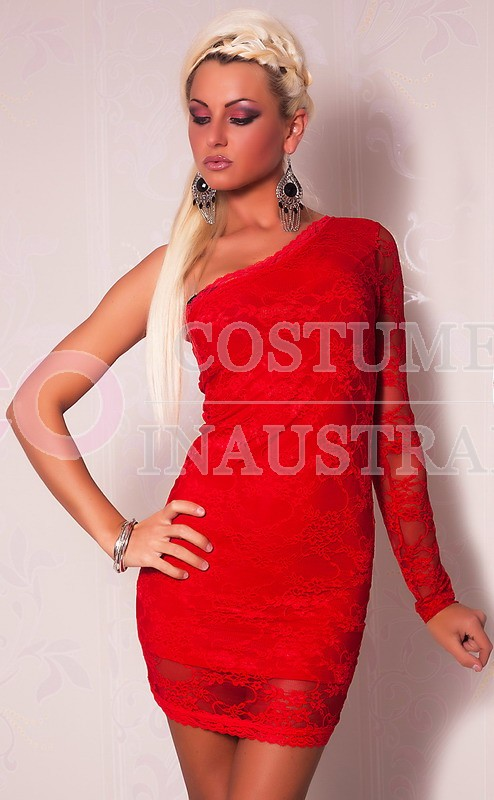 Red one sleeve mini dress