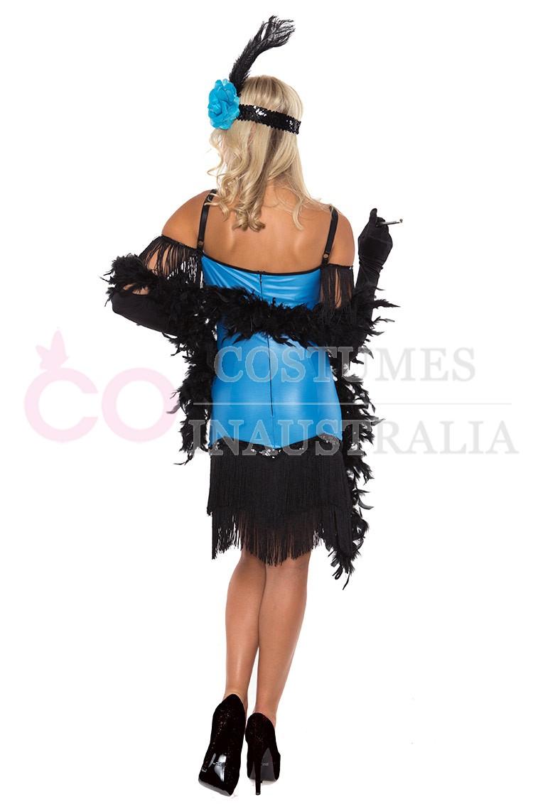 Flapper chicago fancy dress costume black boa women s costumes