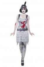20s 1020s Horror Ladies Zombie Bloody Flapper Party Fancy Dress Costume Halloween