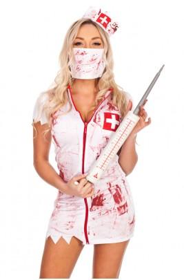 Nurse Costumes - Ladies Halloween Bloody Zombie Nurse Dress Costume