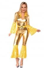 1970s 70s 1980s 80s Dancing Dream Disco Queen Costume Adult Fancy Dress Pop Abba Tribute Retro Outfits Catsuit Lace Up Jumpsuit