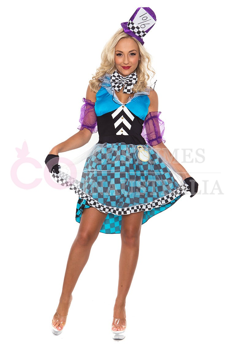 Alice in wonderland costumes ladies mad hatter tea party alice in