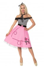1950s 50s Grease Poodle Vintage Rock Polka Roll Dot Skirt Fancy Dress Costume