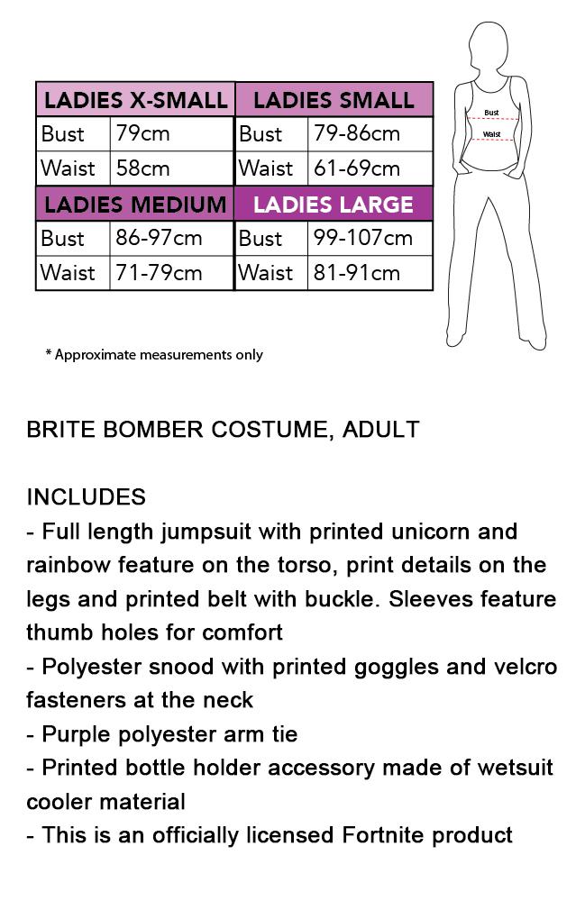 Women Ladies Adult Halloween Cosplay Costume Jumpsuit Brite Bomber Fortnite Zentai