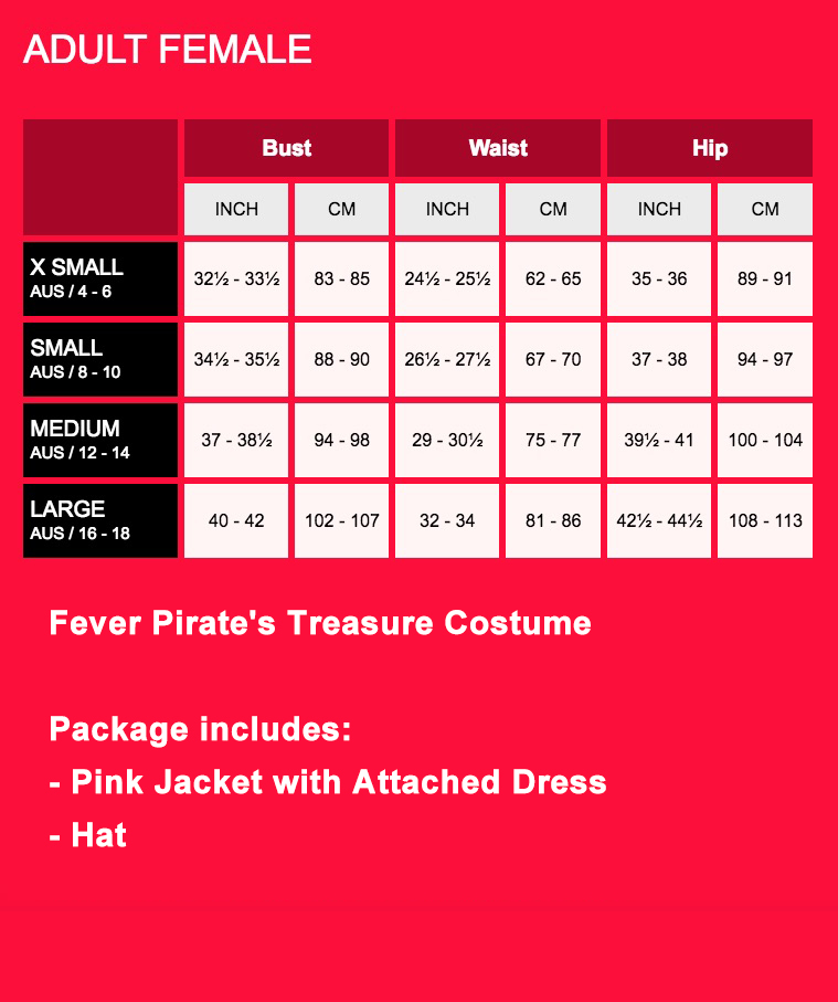 Fever Pirate's Treasure Costume Fancy Dress Angelica Caribbean Outfit Ladies Sexy