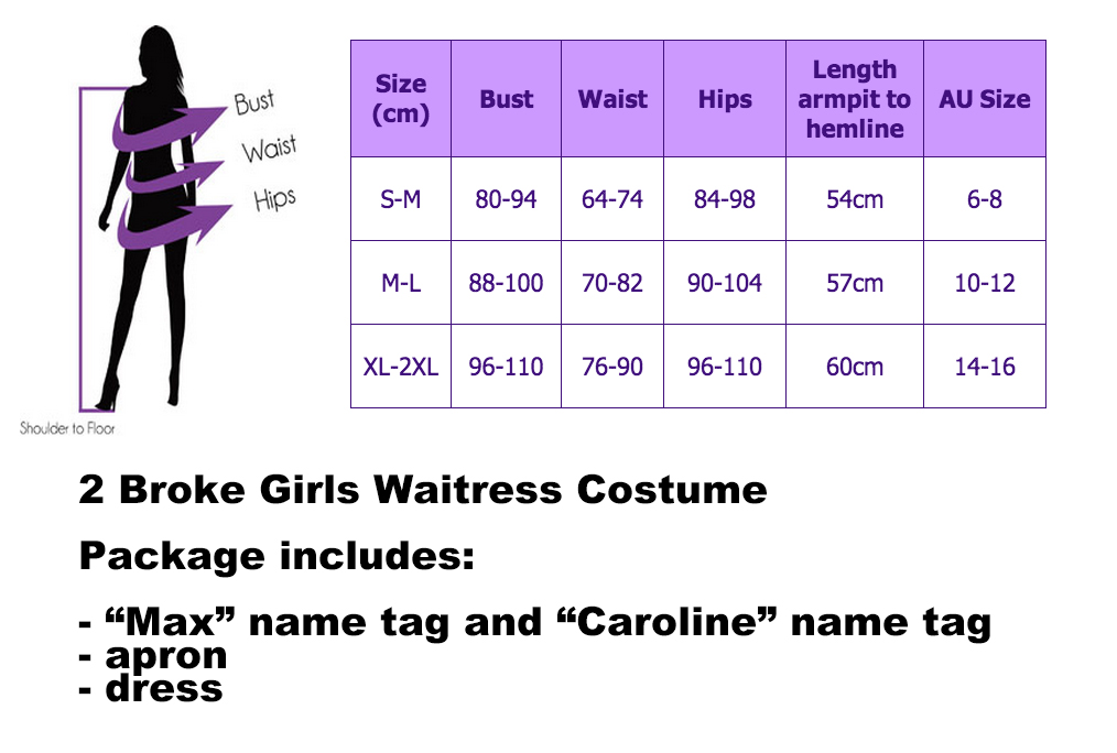 2 Broke Girls Waitress Fancy Dress Costume